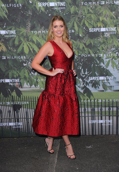 Kitty Spencer Cocktail Dress [clothing,dress,red,cocktail dress,shoulder,fashion,bridal party dress,formal wear,long hair,footwear,arrivals,kitty spencer,london,england,the serpentine gallery,serpentine summer party]