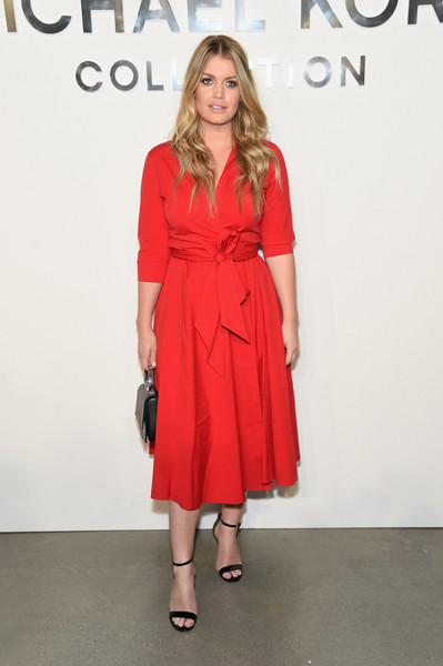 Kitty Spencer Wrap Dress [michael kors collection spring 2018 runway show,clothing,fashion model,dress,red,fashion,cocktail dress,shoulder,footwear,fashion design,premiere,kitty spencer,harry,louis spencer,diana,family,front row,clothing,fashion,wedding,lady kitty spencer,wedding of prince harry and meghan markle,spencer family,wedding of prince william and catherine middleton,fashion,dolce gabbana,clothing,diana princess of wales,louis spencer viscount althorp,charles spencer]