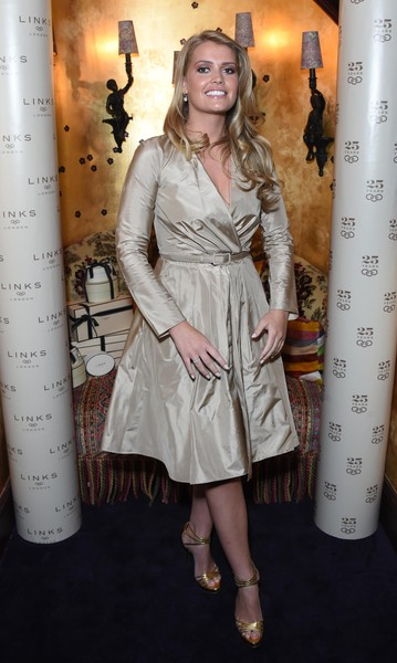 Kitty Spencer Wrap Dress [clothing,dress,hairstyle,long hair,premiere,fashion,leg,fashion model,brown hair,trench coat,kitty spencer,links,links of london 25th anniversary event,loulou,london,england,event]