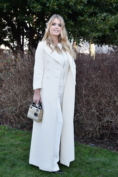 Kitty Spencer Wool Coat [haute couture spring summer,white,clothing,street fashion,dress,fashion,outerwear,coat,formal wear,trench coat,footwear,christian dior,kitty spencer,front row,part,christian dior spring summer 2016,paris,france,paris fashion week,show]