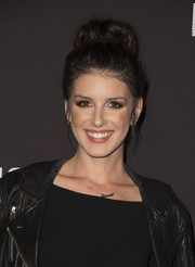 Shenae Grimes looked cute with her loose top bun at the Knott's Scary Farm Black Carpet Party.