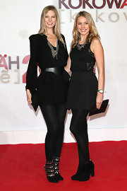 Sarah Brandner glammed up her all-black ensemble with a pair of embellished ankle boots at the 'Kokowaeaeh 2' premiere.