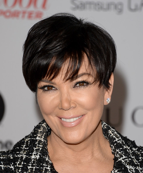 Kris Jenner Short Cut With Bangs [hair,hairstyle,human hair color,eyebrow,chin,beauty,bangs,forehead,black hair,layered hair,kris jenner,arrivals,beverly hills hotel,california,hollywood reporter,annual women in entertainment breakfast,the hollywood reporter]