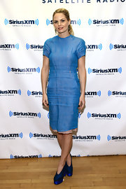 Jennifer Morrison opted for blue style at the SiriusXM event in NYC. The tv starlet accessorized her blue frock with metallic platform ankle boots.