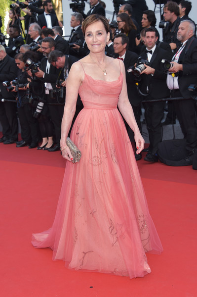 Kristin Scott Thomas Evening Dress [red carpet,dress,fashion model,gown,carpet,clothing,shoulder,flooring,premiere,fashion,red carpet arrivals,kristin scott thomas,cannes,france,cannes film festival,screening,palais des festivals]