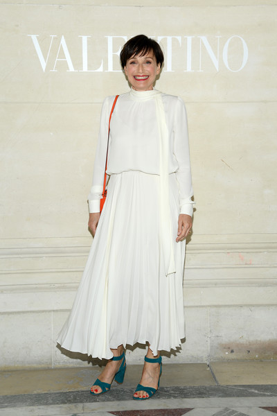 Kristin Scott Thomas Strappy Sandals [haute couture fall,white,clothing,dress,fashion,shoulder,outerwear,street fashion,fashion design,neck,formal wear,valentino,kristin scott thomas,front row,part,paris,france,valentino haute couture fall,paris fashion week,show]