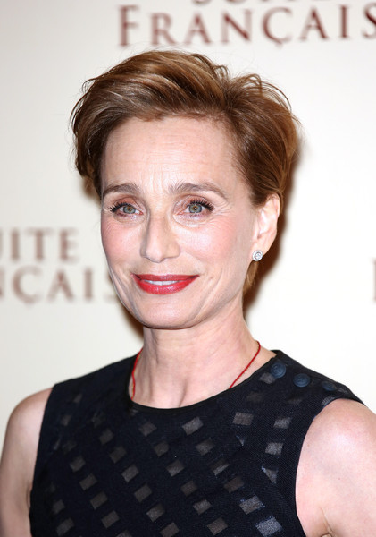 Kristin Scott Thomas Messy Cut [hair,face,hairstyle,lip,eyebrow,skin,beauty,blond,shoulder,chin,suite francais screening,screening,uk gala,london,england,the mayfair hotel,kristin scott thomas]