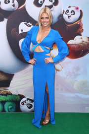 Sophie Monk put plenty of skin on show in this low-cut, high-slit peekaboo gown during the 'Kung Fu Panda 3' premiere.