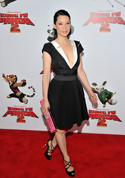 Lucy Liu sizzled at the 'Kung Fu Panda II' premiere in black patent peep-toes with double crisscrossing straps.