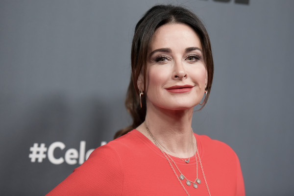 Kyle Richards Ponytail [the new celebrity apprentice,q a,hair,face,lip,eyebrow,cheek,chin,hairstyle,beauty,lady,forehead,arrivals,kyle richards,richard shotwell,q a,nbc,universal studio,afp,red carpet event]