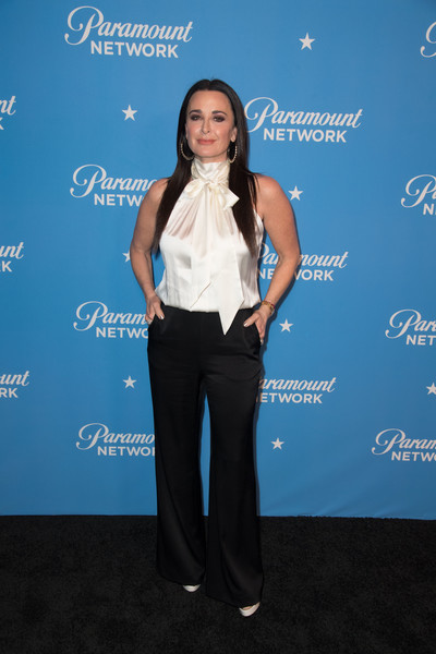 Kyle Richards Halter Top [clothing,shoulder,electric blue,long hair,carpet,pantsuit,formal wear,arrivals,kyle richards,sunset tower,los angeles,california,paramount network launch party]