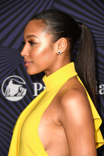 Kylie Bunbury Ponytail [hair,hairstyle,yellow,beauty,eyebrow,fashion,long hair,black hair,model,muscle,bet presents the american black film festival honors - arrivals,beverly hills,california,kylie bunbury]