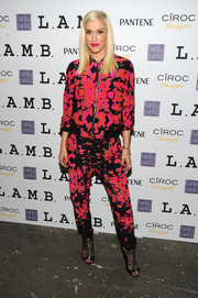 Gwen Stefani looked electrifying in a pink abstract-print zip-up jacket by L.A.M.B. during the label's presentation.