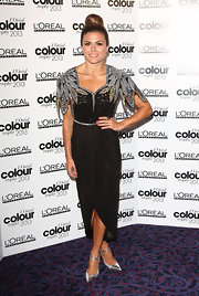 Zoe Hardman wore this Art Deco-inspired dress with cool silver feather embellished epaulets.