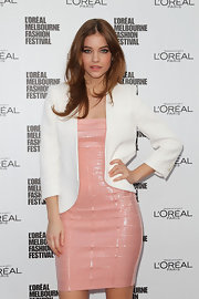 Demure pastel colors are not enough to hide the killer curves of Barbara Palvin at L'Oreal Melbourne's Fashion Festival.