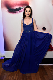 Kristina Bazan chose a low-cut, crisscross-bodice gown by Elie Saab for the L'Oreal Paris Blue Obsession party.
