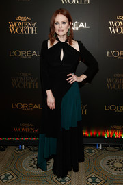 Julianne Moore went for modern glamour in a two-tone keyhole-cutout gown by Givenchy at the 2018 L'Oréal Paris Women of Worth celebration.