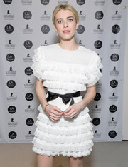 Emma Roberts donned a flouncy little white dress by Huishan Zhang for the LA Art Show 2017.