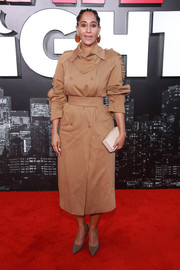 Tracee Ellis Ross hit the LA premiere of 'Late Night' wearing a beige ruffle-sleeve trenchcoat by Max Mara.