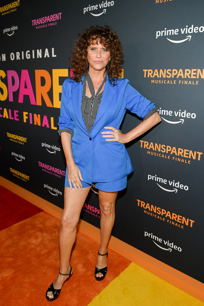 Amy Landecker styled her look with a pair of black patent platforms.
