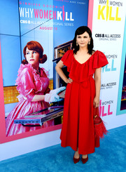 Ginnifer Goodwin looked ultra feminine in a red Preen maxi dress with a layered neckline at the LA premiere of 'Why Women Kill.'