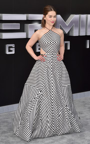 For the LA premiere of 'Terminator Genisys,' Emilia Clarke chose a Rosie Assoulin monochrome gown that was breathtaking both for its geometric print and for its fit-and-flare silhouette.