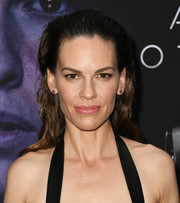Hilary Swank looked punky with her brushed-back waves at the LA special screening of 'I Am Mother.'