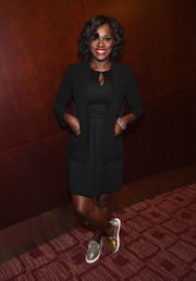 Viola Davis was in a dark mood, layering a black blazer over her LBD.