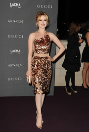 Evan Rachel Wood looked retro in this scaly bronze cocktail dress at the Art + Film Gala.