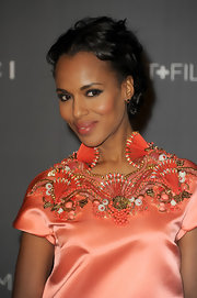 Kerry swept back her short curls for this romantic evening look.