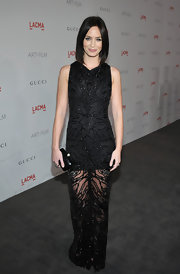 Emily Blunt opted for a an unusually dark look at LACMA's Art and Film Gala carrying a petite black box clutch.