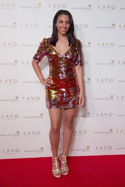 More Pics of Corinne Foxx Sequin Dress (1 of 2) - Dresses & Skirts Lookbook - StyleBistro [clothing,fashion model,cocktail dress,red,fashion,thigh,leg,red carpet,carpet,shoulder,corinne foxx,jamie foxx,lavo singapore grand opening,marina bay sands,singapore]