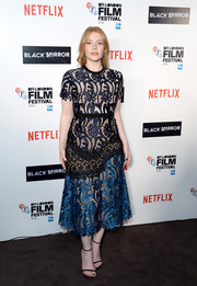 Bryce Dallas Howard was sweet and feminine in a lace midi dress by Self-Portrait at the BFI London Film Festival screening of 'Black Mirror.'