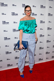 Jenna Lyons pulled her exciting ensemble together with a pair of star-embellished satin pumps.