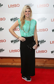Ashley James chose a long black maxi skirt for her red carpet look at the 'Limbo' event.