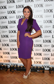 Lauren Goodger paired her purple frock with platform peep-toe pumps.