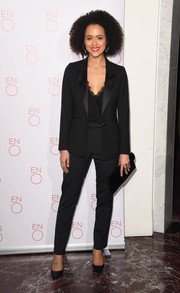 Nathalie Emmanuel was sleek and stylish in a black pantsuit at the 'La Boheme' VIP performance.