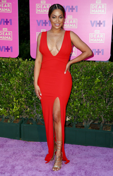 La La Anthony Lace-Up Heels [dear mama,clothing,dress,red carpet,shoulder,thigh,cocktail dress,red,carpet,pink,neck,la la anthony,los angeles,california,vh1,event]