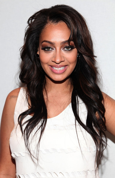 La La Anthony Long Curls [hair,hairstyle,eyebrow,long hair,black hair,layered hair,brown hair,beauty,chin,shoulder,charlotte ronson,lala vazquez,tresemme,front row,lincoln center,new york city,the stage,mercedes-benz fashion week,fashion show]