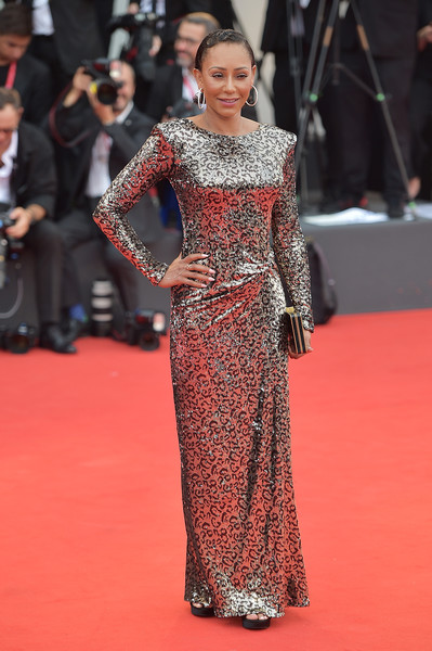 Melanie Brown shimmered in a sequined column dress by Manila Grace at the 2019 Venice Film Festival opening ceremony.