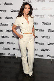 Padma Lakshmi was casual-chic in a cream-colored jumpsuit during the Celebrity Charades Gala.