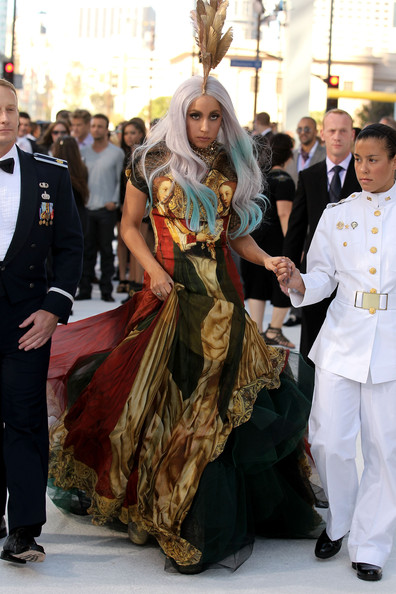 Lady Gaga Print Dress [fashion,event,tradition,dress,ceremony,formal wear,fashion accessory,costume,fashion design,arrivals,lady gaga,2010 mtv video music awards,fashion,meat dress,california,los angeles,nokia theatre l.a. live,ceremony,event,lady gaga,2010 mtv video music awards,mtv video music award,fame kills: starring kanye west and lady gaga,2010,music,ceremony,2017 mtv video music awards,lady gagas meat dress,2018 mtv video music awards]