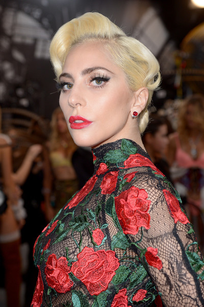 Lady Gaga Gemstone Studs [hair,fashion,face,hairstyle,lip,beauty,haute couture,eyebrow,chin,blond,lady gaga,backstage,paris,france,victorias secret fashion show]