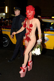 This see-through, rose-adorned Eren Fidanci catsuit that Lady Gaga wore on her way to her Roseland Ballroom concert was publicity genius!