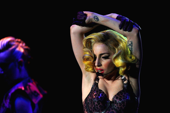 Lady Gaga Artistic Design Tattoo [pictures,monster of ball,performance,entertainment,performing arts,performance art,event,fashion,dancer,stage,music artist,singer,lady gaga,editors note,publication,arena,hamburg,germany,lady gaga in concert,tour]