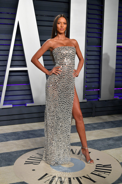 Lais Ribeiro Evening Sandals [oscar party,vanity fair,dress,clothing,fashion model,shoulder,gown,fashion,beauty,lady,strapless dress,haute couture,beverly hills,california,wallis annenberg center for the performing arts,radhika jones - arrivals,radhika jones,lais ribeiro]