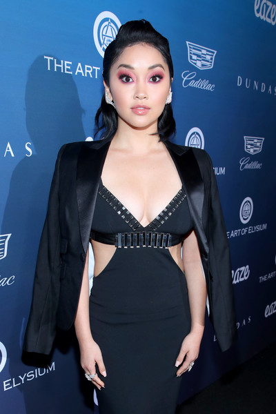 Lana Condor Blazer [the art of elysium,clothing,dress,shoulder,fashion,little black dress,neck,cocktail dress,premiere,black hair,event,art of elysium presents michael muller,lana condor,heaven,california,los angeles,heaven - arrivals]