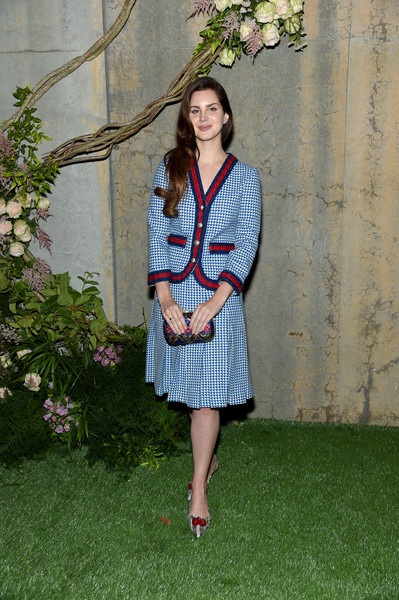 Lana Del Rey Skirt Suit [clothing,fashion,shoulder,outerwear,plant,dress,fashion model,tree,grass,denim,lana del ray,gucci bloom,moma ps1,new york,gucci,fragrance launch event,bloom fragrance launch]