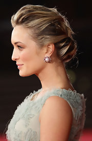 Carolina Crescentini wore her hair in an elegant, loose French braid at the 6th International Rome film festival.