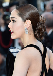 Araya A. Hargate slicked her hair back into a low, twisted bun for the Cannes premiere of 'From the Land of the Moon.'